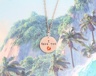 I lava you metal stamped necklace