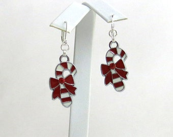 Christmas Candy Cane Dangle Earrings (Item #302)