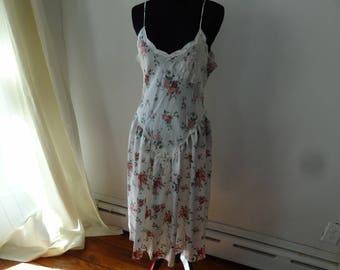 Vintage 80s Victoria's Secret nightgown. Satin floral pattern, longer skirt. Size Medium.
