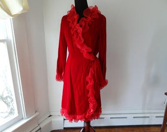 Vintage Alfred Werber red velvet wrap dress with ruffled trim: late 60s, early 70s designer dress. Very mod! Modern size Small