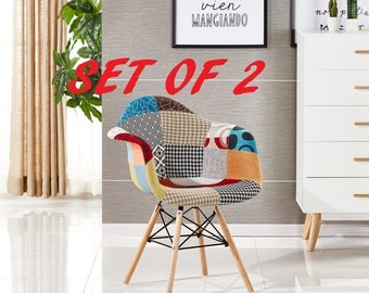 Set Of 2 Moda Patchwork Scandinavian Chair Modern Living Room Dining Room Chair Mid Century Design Eames Style With Arms EAMES