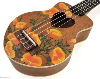 YOUR Soprano Ukulele Handpainted with California Poppies (Ukulele not included)