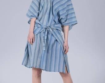 Woman's cotton dress / Oversized light kimono dress / Pure cotton striped blue dress / Oversized tie woman's tunic / Fasada 17101
