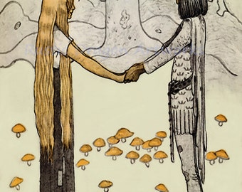 "John Bauer ""Prince without Shadow"" 1910 Reproduction Digital Print Young Prince Young Girl Holding Hands Fantasy Fairy Tale"