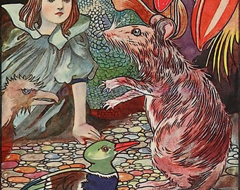 """Charles Robinson """"Ahem said the Mouse with an Important Air"""" 1907 Reproduction Digital Print Alice in Wonderland Alice Rat Fairy Tale"""