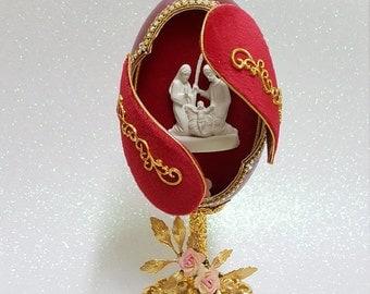 Decorated Goose Egg  Trinket Box.  Handmade Nativity egg ornament.