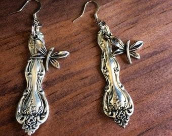 Silverware Handle Earrings, French Hooks, Dragonflies, Vintage