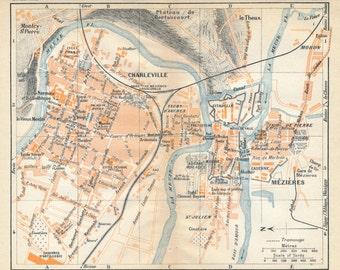 1930 Charleville-Mezieres France Antique Map