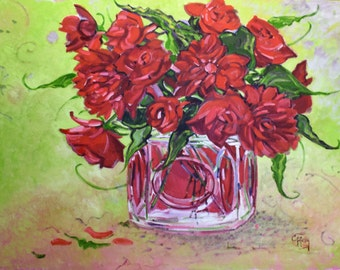 Large oil painting of red roses, 30x40 canvas, purple, green, yellow, blue, free shipping