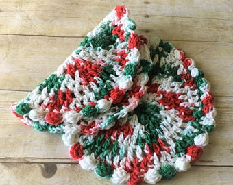 Christmas Crochet Dishcloth, Red Green Crochet Dish cloth, Dishcloths, Washcloths, Cotton Dishcloths, Crochet Dishcloths, Christmas Gift