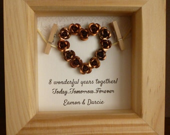 anniversary gift, 8th wedding anniversary gift, bronze wedding present ...