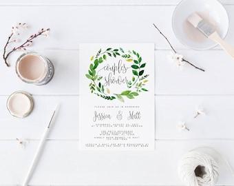 Laural Greenery Couples Shower Invitation Bridal Shower Invitation  Bachelorette Party Invite Printable Invitation Calligraphy Invite