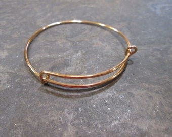 "SPECIAL Gold Child Size Adjustable Bangle Bracelet 2"" diameter Children's bangle bracelet High Quality Shiny light gold finish"