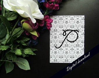 """Gray Floral Damask Initial Monogram Printable  - Shabby Chic 5x7"""" or 8x10"""" Customized Initial Digital File"""