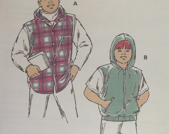 Sewing Pattern Young Boys Hooded Vests Sleeveless Buttoned or Zipper Front Pockets Sizes 4 5 6 7 Kwik Sew 2299 Uncut Factory Sealed 1993