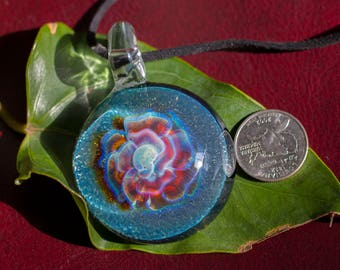 Large Glass Pendant - Glass Blown Pendant - Glass Flower Pendant Necklace - Glass Bead - Head Blown Glass Pendant - Gift for Mom - Colorful