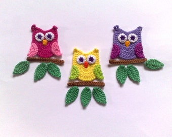 Crochet owl Applique  Embellishments Crochet Applique Leaf Owl embellishment
