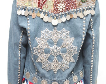 Boho Hippie Festival Wear Jean Jacket/ Coin Embroidered metal beads Denim Jacket/ Coachella Jacket/ Woman Denim / Medium