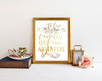 Peter Pan Quotes - Neverland Art - Real Foil Print - Classic Book Quote - Foil Nursery Decor - Foil Quote Prints - Nursery Wall Art