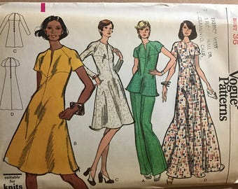 Vogue 8589 - 1970s Very Easy Dress or Tunic with Shaped Seaming and Slit Neck with Pants - Size 14 Bust 36