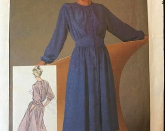 Simplicity 6780 - 1980s Mary McFadden Dress with Shaped Midriff and Flared Skirt - Size 12 Bust 34
