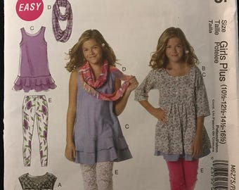 McCalls M6275 - Easy to Sew Girl's Dress, Leggings and Scarf - Size 7 8 10 12 14 OR 10.5 12.5 14.5 16.5