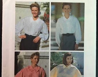 Butterick 5658 - 1990s Button Front Blouse with Pointed Collar and Ruffle Option - Size 6 8 10