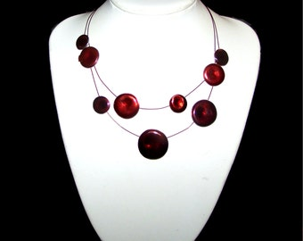 Multi Strand Red Necklace - SALE - Floating / Illusion Necklace - Bottle Cap Like - Graduated