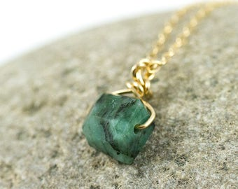 May Birthstone - Emerald Necklace - Emerald Jewelry - Emerald Pendant - Natural Emerald - Raw Emerald - Rough Emerald