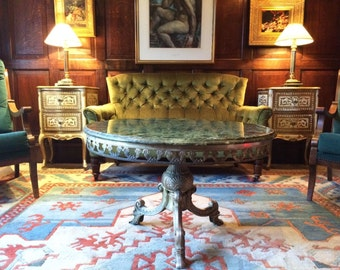 Stunning Antique Style Coffee Table Occassional French Marble Brass Circular