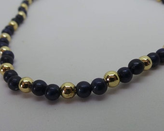 Midnight Blue and Gold Beaded Necklace, Vintage Plastic Beads