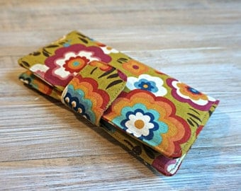 Spring Wallet for Women - Ladies Flower Wallet - Large Organizer Wallet - Handmade Fabric Wallet - 12 Card Slots
