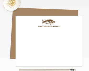 Personalized Stationery / Mens Stationery / Fishing Gifts for Men / Stationery for Men / Personalized Stationary / Fish Note Cards