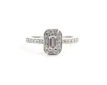 14k White Gold Diamond Engagement Ring, White Gold Halo Design Diamond Ring, Engagement Ring
