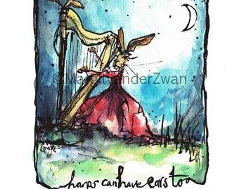 Harp Hare | Fine art giclee print | original illustration | handmade in UK | music gift |musician | the Moon | Music in a lunar landscape