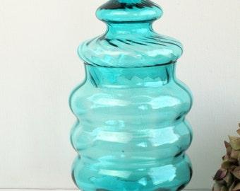 Retro Apothecary Style Turquoise Glass Jar