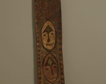 Papua new Guinea Multi Face Spirit Board Handmade Clan Board Weathered Painted Wood HuntinSleeping Spirit Men Board