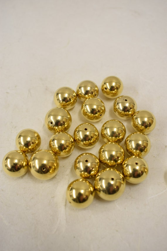 Beads Vintage 20 Bright Gold Plated Round  Beads Handmade Jewelry Necklaces Bracelets Earrings Creative Jewelry Vintage Beads 4
