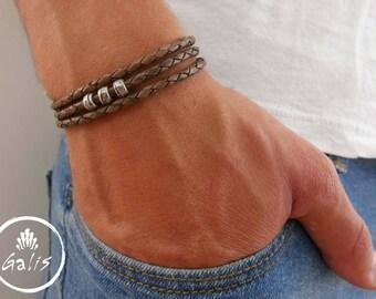 Men's Bracelet - Men's Beaded Bracelet - Men's Leather Bracelet - Men's Jewelry - Men's Gift - Boyfriend Gift - Husband Gift - Gift For Him