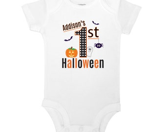 Personalize The Name - My First Halloween - Baby One Piece Bodysuit or Toddler T-shirt