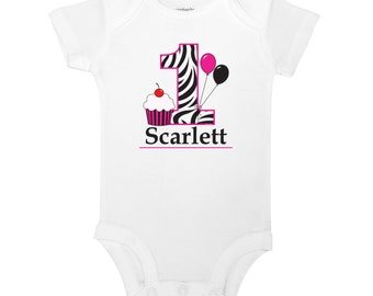 Personalized 1st Birthday Pink and Black Zebra Cupcake and Balloons Cute Baby Girl One Piece Toddler T-shirt