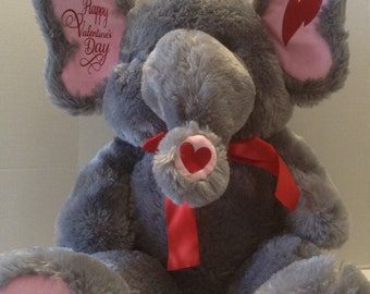 Personalized Plush Animal/Personalized Stuffed Animal/Personalized Valentine's Day Elephant