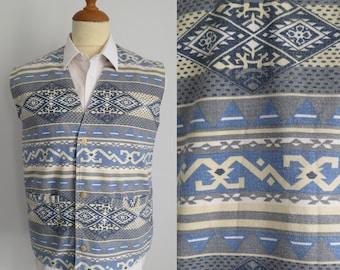 Mens blue waistcoat vest, patterned, casual, hippie boho, loud pattern, x large
