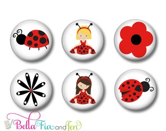 Ladybug Magnets or Button Badges Set of 6 one inch (2.5cm)
