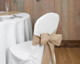 12 x Burlap Chair Sashes Bows Hessian Rustic Wedding Party Decoration