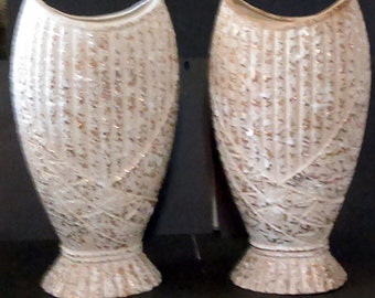 "Pair Vintage 1950's Hollywood Regency Empire Style Gold Fleck Ceramic 12 1/2"" Tall Vases"