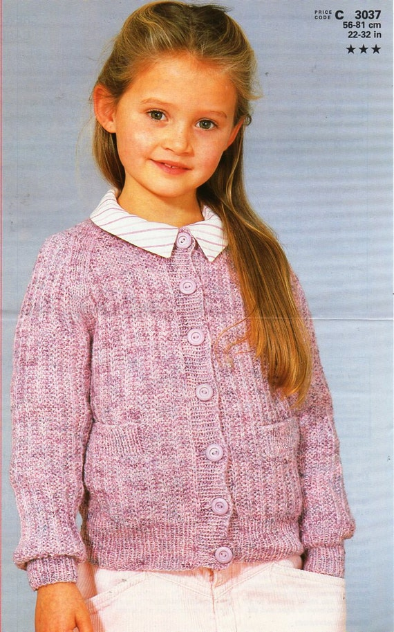 childrens cardigan knitting pattern pdf DK ribbed round neck