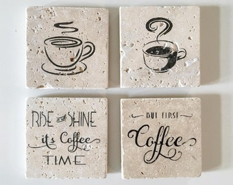Drink Coasters, Coffee Lover, Birthday, Hostess, Stone Coasters, Gift For Her, Anniversary, Wedding Gift, Coffee Coasters, Thirsty Stone