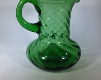 Small Vintage Green Blown Glass Vase, Pitcher, Creamer, 1940