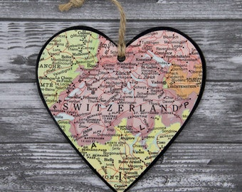 Switzerland Map, Swiss Christmas, Map Heart Ornament, Christmas Tree Ornaments, Antique Map Heart, Travel Map Gift, Unique Map Gifts
